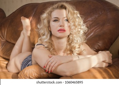 Sexual emotional attractive woman  in erotic lace underwear posing in a boudoir