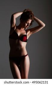 sexual female body in black lingerie