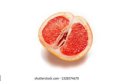 Sexual grapefruit, concept. Vagina and clitoris symbol.