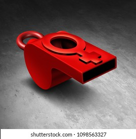 Sexual harassment and assault movement awareness involving women and violence as a whistle shaped as a female symbol as a 3D illustration.