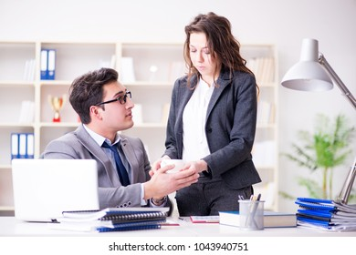Sexual harassment concept with man and woman in office