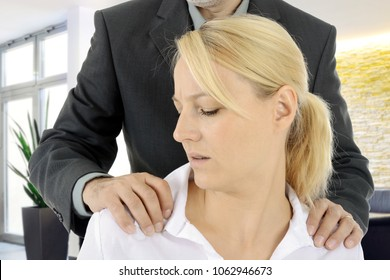 Sexual harassment of a woman by a man, colleague or boss at work in the office