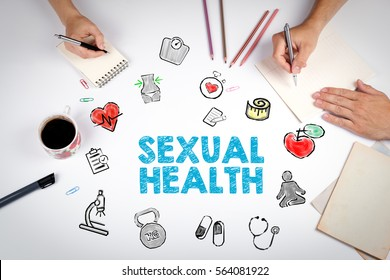 Sexual Health concept. Healty lifestyle background. The meeting at the white office table