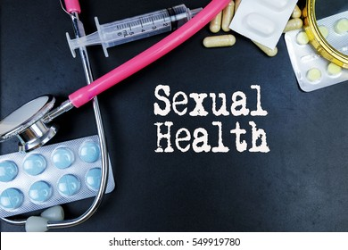 Sexual Health word, medical term word with medical concepts in blackboard and medical equipment