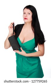 Sexual woman wearing green dress with bright make up over white background