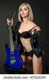 Girl guitar lingerie