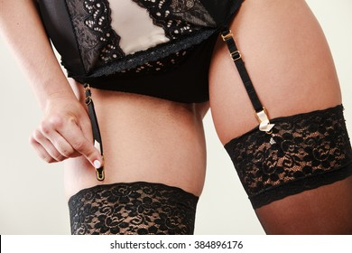 fb2a4774e5 Sexuality and sensuality of women. Part body sexy slim woman wear garter  belt and stockings