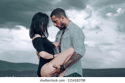 Sexually active couples. Lovers having romantic moments. Couple kissing about to have sex. Prelude before sex