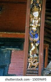 Sexually explicit temple carvings, Intricately carved temple struts, Hindu goddessKathmanduNepal, Asia