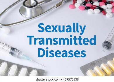 Sexually Transmitted Diseases Text, On Background of Medicaments Composition, Stethoscope, mix therapy drugs doctor flu antibiotic pharmacy medicine medical