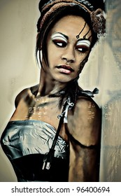 Sexy Adult Fantasy Abstract Portrait of Black Female Cyborg