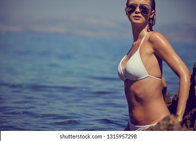 Sexy amazing  girl in sea. Croatia coast