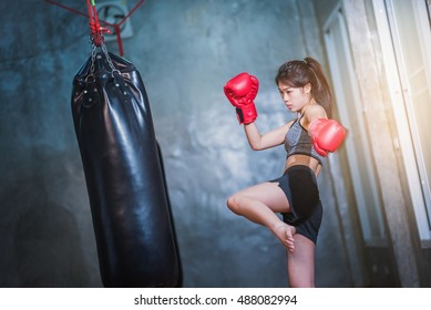 Asian girls kickboxing