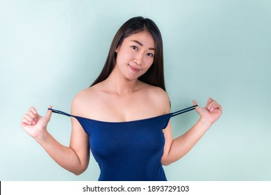 Sexy asian beauty skincare woman smile to you on white background