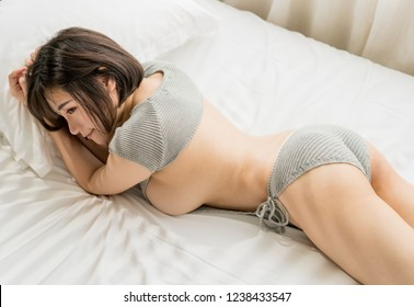 Sexy asian girl big breast on bed,japanese style