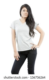 Sexy asian girl with blank grey t-shirt