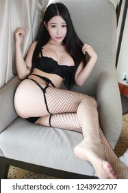sexy asian girl model in fashion wear japanese style Sexy young woman with big breast.Beautiful body of woman