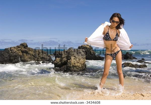 sexy asian girl on the beach