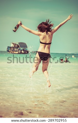 Share asian girl dancing joy