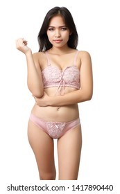 sexy asian woman bikini on white background in studio