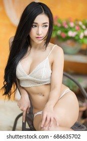 Sexy asian woman in lace underwear
