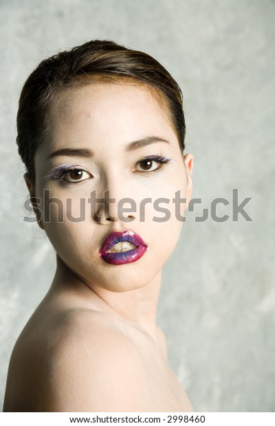 Sexy asian woman in makeup