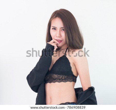 c64162cdf Sexy Asian Woman Wearing Black Bra Stock Photo (Edit Now) 786908839 ...