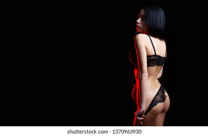 Sexy ass in panties and bra. Sensual woman body. Sexy girl, lace underwear. Beautiful ass. Female in underwear. Slim girl with sensual body, lip, panties.