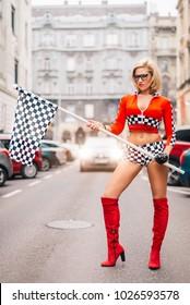 Sexy Attractive Formula 1  Hostess Blond Walk On Grid Girl Woman Posing Flag Sexist Sexism