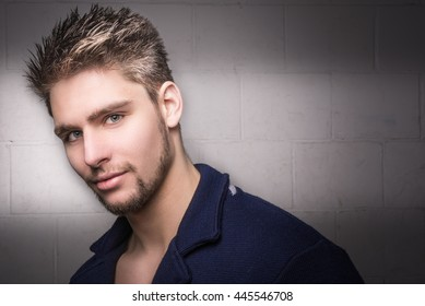 Sexy, attractive and handsome male model. Hot and young man. Space for copy.
