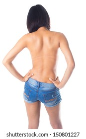 Sexy back of woman wearing blue jeans
