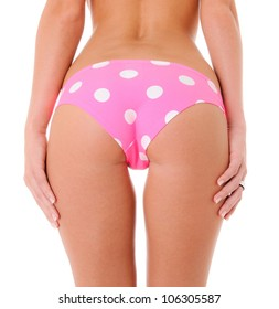 Sexy Backside of a Woman Wearing Pink Polka Dot Panties