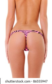 Sexy Backside of a woman wearing a pink zebra print thong