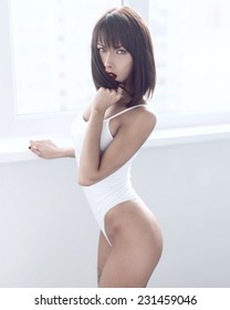 Sexy beautiful brunette fashion