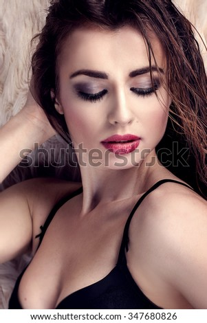 Sexy Beautiful Brunette Woman Lying Bed Stock Photo (Edit Now ... 1ce92e848
