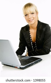 Sexy Beautiful Business women with laptop computer isolated on white