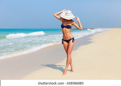 Sexy beautiful tanned woman relaxing and sunbathing in bikini on sea background and palm. Panoramic view from Jumeirah beach Dubai, UAE. Famous tourist destination.