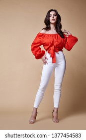Sexy beautiful woman fashion glamour model brunette hair makeup wear silk blouse trousers clothes for every day casual party style accessory date walk girl skinny body shape studio.