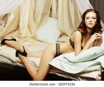sexy beautiful woman lingerie in bed