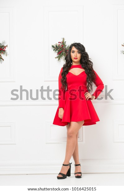 Sexy Beautiful Woman Portrait Christmas Background Stock