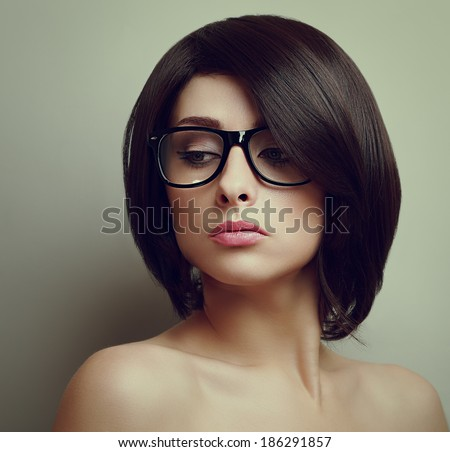 Sexy Beautiful Woman Short Hair Glasses Stock Photo Edit Now