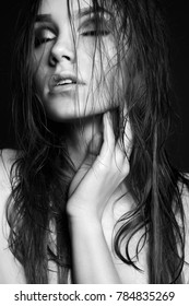 sexy Beautiful young woman with wet hair.beauty monochrome portrait of passion girl