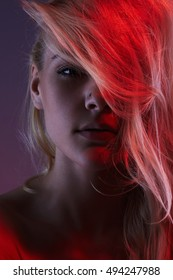sexy beautiful young woman.fashion art nude girl in red light