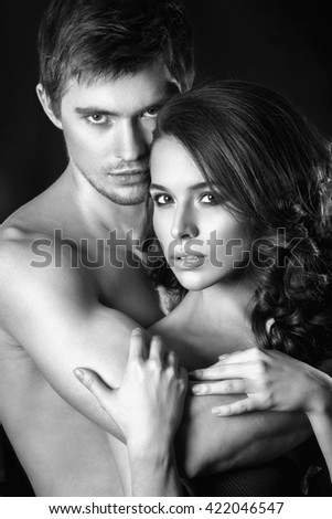 Sensual Brunette Woman In Underwear With Young Lover Passionate Couple Foreplay Closeup Sexy Couple In Intimacy Relations Image