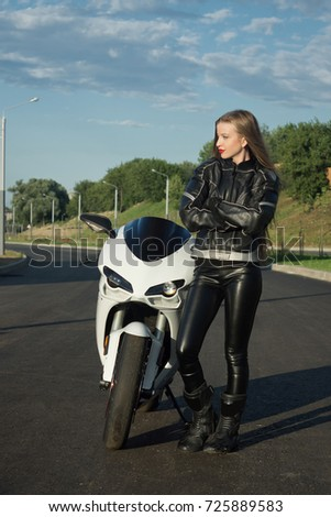 168b3773a Sexy Biker Girl Leather Jacket On Stock Photo (Edit Now) 725889583 ...