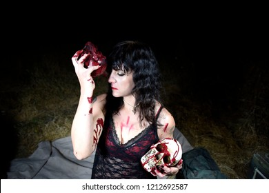 Sexy Black Metal Goth Woman in Black Lace Blood Spatter Halloween Dungeon
