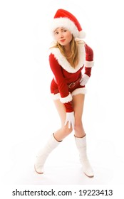 sexy blond girl dressed as Santa