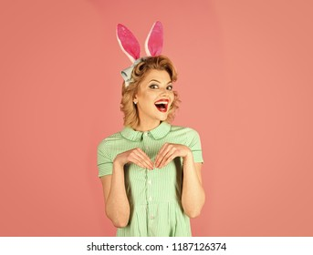 Sexy blond girl with retro makeup, playboy. Easter, makeup, pinup party, girl in rabbit ears. Pinup woman, vintage, look. Retro woman in bunny ears, easter. Beauty, fashion cosmetics vintage style