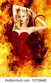 Sexy blond woman as devil i flames witch horns and tail