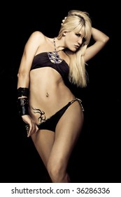 sexy blond woman in lingerie